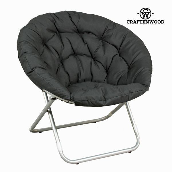 Black foldable pouf chair by Craftenwood