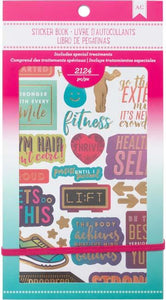 "American Crafts Planner Stickers 12-Page Book 4.75""X9""-Fitness"