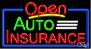 Auto Insurance Open Handcrafted Energy Efficient Glasstube Neon Signs