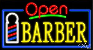 Barber Open Handcrafted Energy Efficient Glasstube Neon Signs