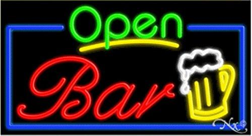 Bar Open Handcrafted Energy Efficient Glasstube Neon Signs