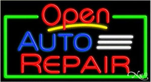 Auto Repair Open Handcrafted Energy Efficient Glasstube Neon Signs