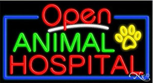 Animal Hospital Open Handcrafted Energy Efficient Glasstube Neon Signs