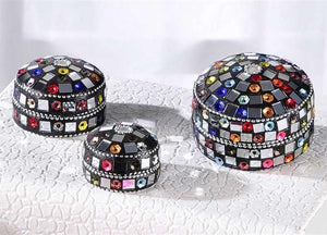 "Black ""Jeweled"" Nested Mini Boxes Set of 3 By Giftcraft"