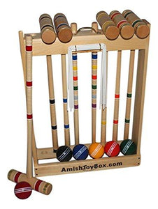 "Amish-Crafted Deluxe Maple-Wood Croquet Game Set, 6 Player (28"" Handles)"