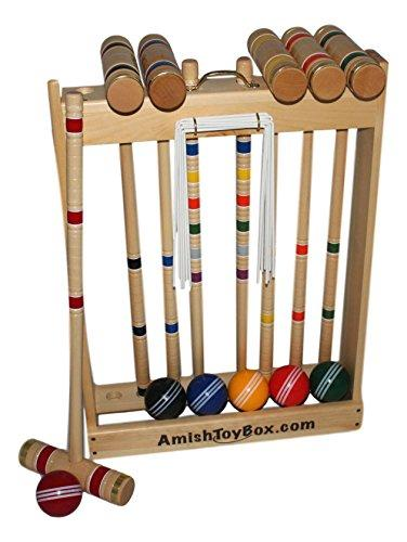 Amish-Crafted Deluxe Maple-Wood Croquet Game Set, 6 Player (28