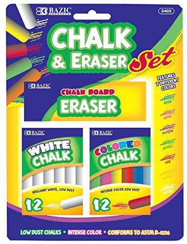 BAZIC 12 Color & 12 White Chalk w/ Eraser Set for School, Crafts, or Outside Play. 1
