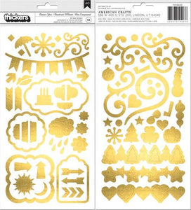 American Crafts Thickers Stickers 94/Pkg-Banner Year; Icons W/Gold Foil