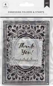 American Crafts Embossing Folders & Stamps Set-Congratulations Flourish