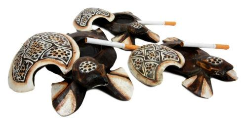 Balinese Wood Handicrafts Polkadot Shell Turtle Family Ashtray Box Figurine Set