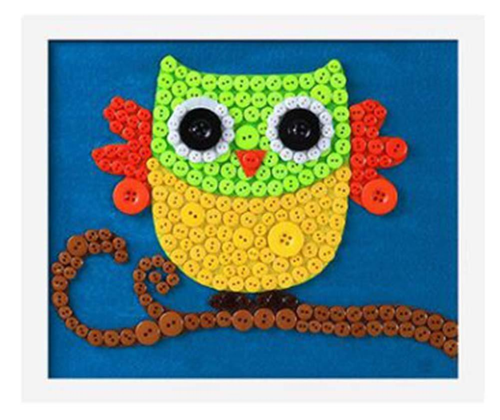 Blancho Bedding Nice Owl DIY Button Painting Mosaic Craft for Kids