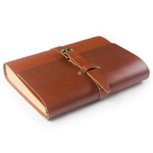 Budget ancicraft classic genuine leather journal with strap buckle handmade a5 lined craft paper red brown with gift box red brown a55 8x8 3inch lined craft paper
