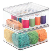 Load image into Gallery viewer, Results mdesign stackable plastic craft sewing crochet storage container bin with attached lid compact organizer and holder for thread beads ribbon glitter clay small 3 high 8 pack clear