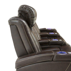 Buy seatcraft delta home theater seating leather power recline powered headrests and built in soundshaker row of 4 center loveseat brown