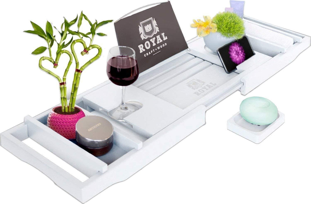 Shop here royal craft wood bamboo bathtub caddy tray with wine and book holder one or two person bath tray with extending sides free soap dish white