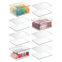 Load image into Gallery viewer, Purchase mdesign stackable plastic craft sewing crochet storage container bin with attached lid compact organizer and holder for thread beads ribbon glitter clay small 3 high 8 pack clear