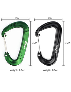 Buy now kimjee 12kn wire gate carabiners d shape aircraft grade aluminum clip for keychain hammocks camping hiking backpack dog leash green black 5
