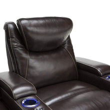 Load image into Gallery viewer, Shop for seatcraft equinox home theater seating leather power recliner adjustable power headrest adjustable powered lumbar support usb charging storage soundshaker lighted cup holders brown