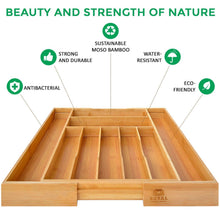 Load image into Gallery viewer, Discover bamboo kitchen drawer organizer expandable silverware organizer utensil holder and cutlery tray with grooved drawer dividers for flatware and kitchen utensils by royal craft wood
