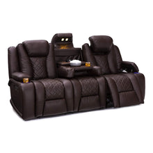 Load image into Gallery viewer, Shop for seatcraft europa home theater seating power recline leather gel sofa adjustable powered headrests cup holders power charging station hidden in arm storage sofa brown
