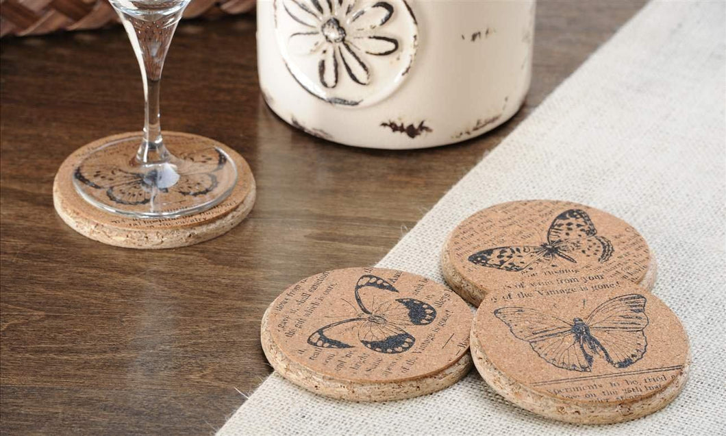 Giftcraft Cork Coasters - Butterflies - Set of 4