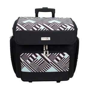 Home everything mary wit deluxe teal geometric rolling organizer papercrafting storage tote for paper binder tools scissors stamps telescoping handle with dual wheels craft case