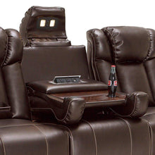 Load image into Gallery viewer, Organize with seatcraft sigma home theater seating sofa leather gel recline with adjustable powered headrests center fold down table hidden in arm storage ac usb charging and lighted cup holders brown