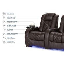 Load image into Gallery viewer, Save seatcraft diamante home theater seating leather power recline with adjustable powered headrest soundshaker usb charging cup holders ambient lighting row of 2 brown