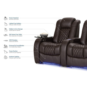 Save seatcraft diamante home theater seating leather power recline with adjustable powered headrest soundshaker usb charging cup holders ambient lighting row of 2 brown