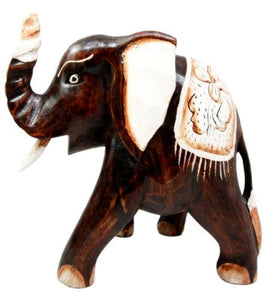 "Balinese Wood Handicrafts Safari Jungle Festival Parade Elephant Figurine 10""H"