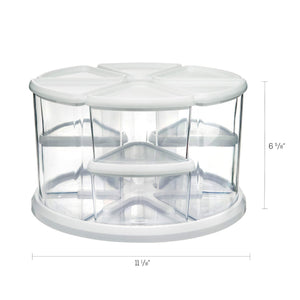 Save on deflecto rotating carousel craft storage organizer 9 canister configuration includes 3 and 6 canisters removable clear white lids 3901cr