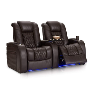 Organize with seatcraft diamante home theater seating leather power recline with adjustable powered headrest soundshaker usb charging cup holders ambient lighting row of 2 brown