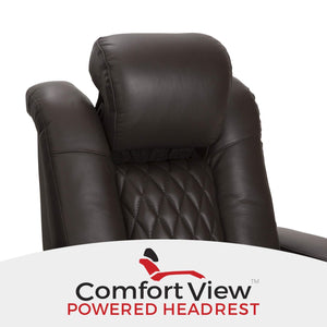Results seatcraft diamante home theater seating leather power recline with adjustable powered headrest soundshaker usb charging cup holders ambient lighting row of 2 brown