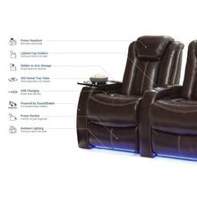 Load image into Gallery viewer, Buy now seatcraft delta home theater seating leather power recline powered headrests and built in soundshaker row of 4 center loveseat brown