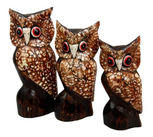Balinese Wood Handicrafts Eggskin Feathers Forest Owl Family Set of 3 Figurines