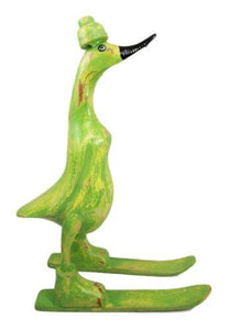 "Balinese Wood Handicrafts ""Bebek Angsa"" Key Lime Green Skiing Duck Figurine"