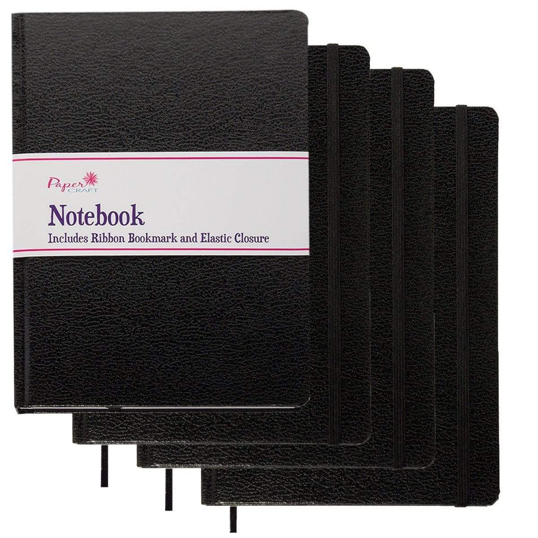 Discover the best paper craft 4 pack 8 5 x 5 5 leatherette lined writing journals wide ruled banded notebook with ribbon bookmark black a5 size
