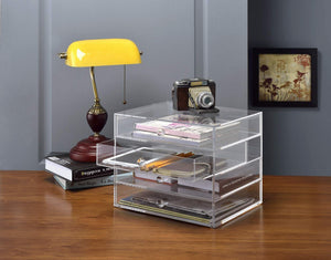 Best seller  acrylic plastic handcrafted transparent clear 4 tier drawer storage organizer case for jewelry makeup cosmetic oversized 12 7l x 9 8w x 10 9h inches