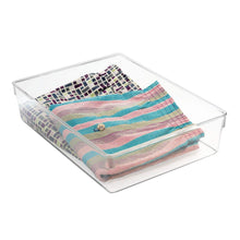 Load image into Gallery viewer, Try interdesign linus plastic dresser and vanity organizer storage bin for bathroom bedroom office craft room fridge freezer pantry 12 x 9 x 3 clear