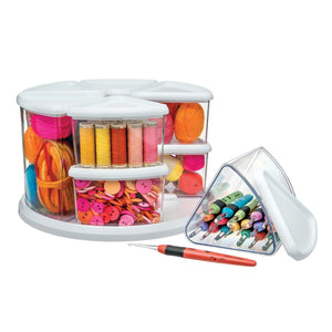 Select nice deflecto rotating carousel craft storage organizer 9 canister configuration includes 3 and 6 canisters removable clear white lids 3901cr
