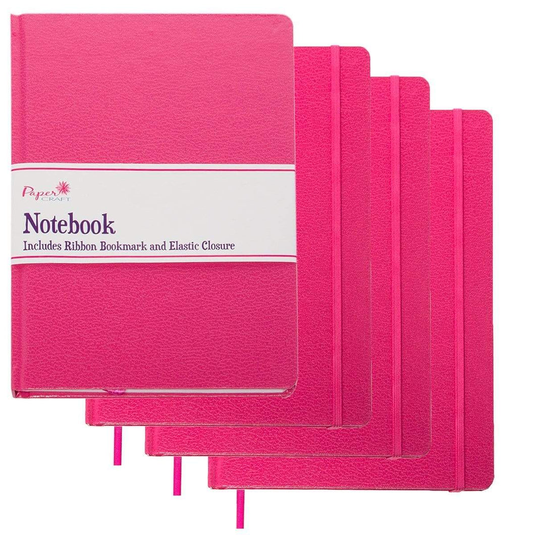 Save paper craft 4 pack 8 5 x 5 5 leatherette lined writing journals wide ruled banded notebook with ribbon bookmark pink a5 size