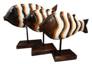 Balinese Wood Handicrafts Large Swimming River Fish Family Set of 3 Figurines