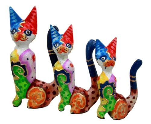 Balinese Wood Handicrafts Tropical Colors Feline Cat Family Set of 3 Figurines