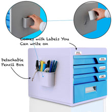 Load image into Gallery viewer, Discover the best locking drawer cabinet desk organizer home office desktop file storage box w 4 lock drawers great for filing organizing paper documents tools kids craft supplies serenelife slfcab20