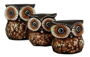 Balinese Wood Handicrafts Small Forest Owl Family Set of 3 Decorative Figurines