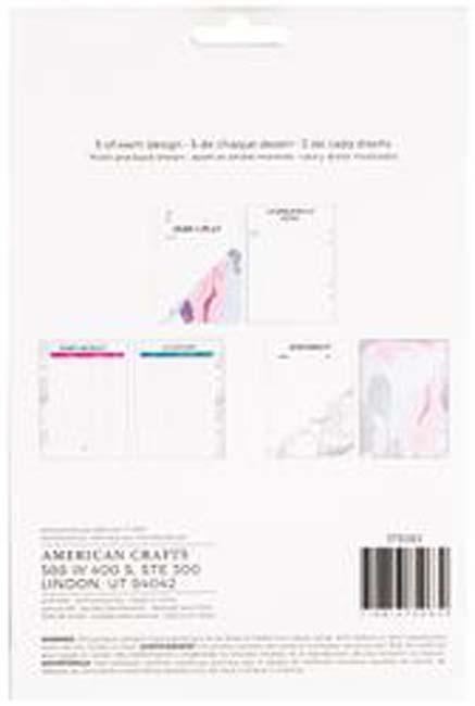 American Crafts Memory Planner Inserts-Marble Crush Event; 6 Designs/5 Each
