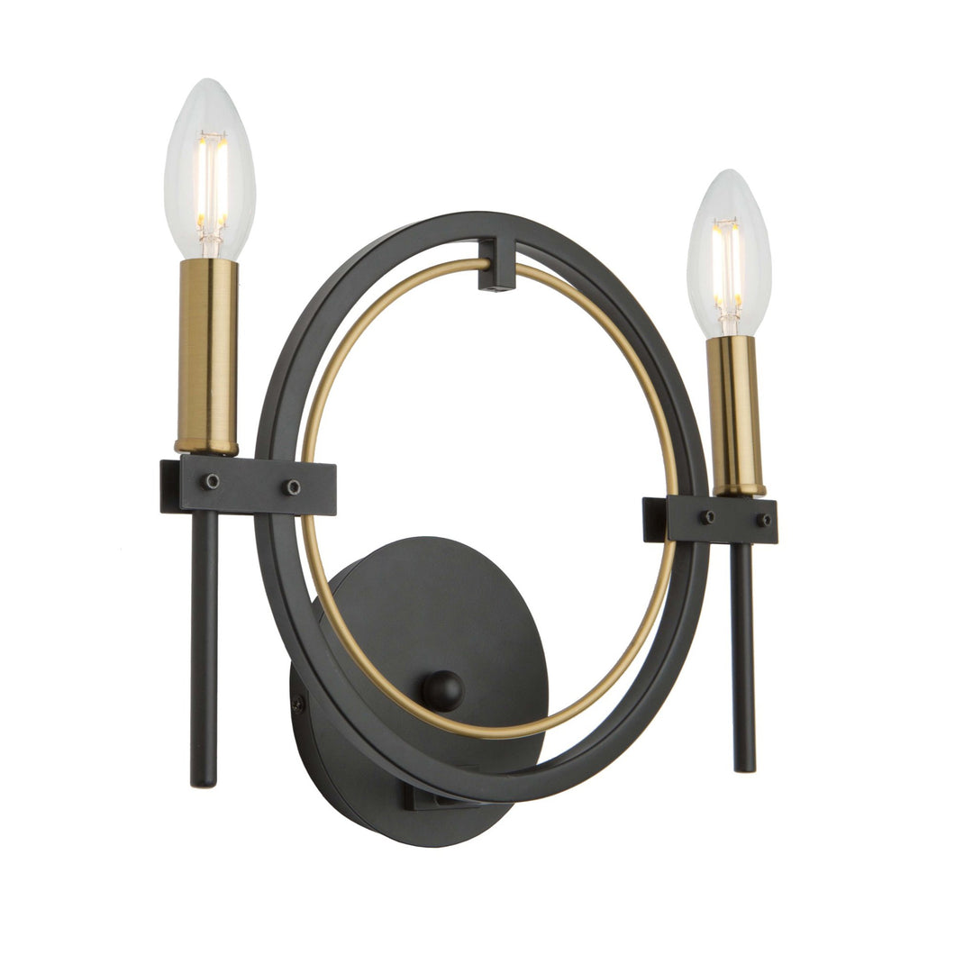 Anglesey 12.5 in. wide Black and Brass Wall Light