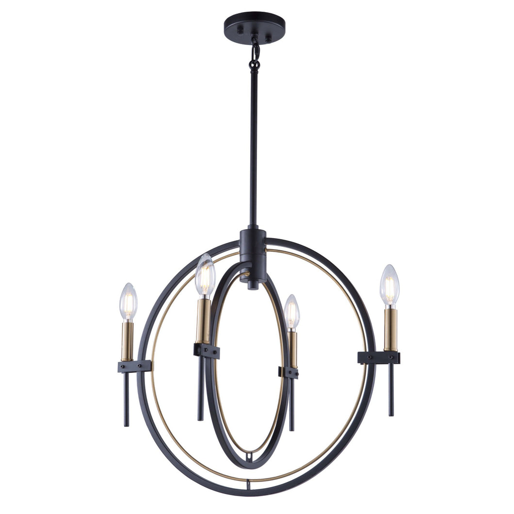 Anglesey 21.5 in. wide Black and Brass Chandelier