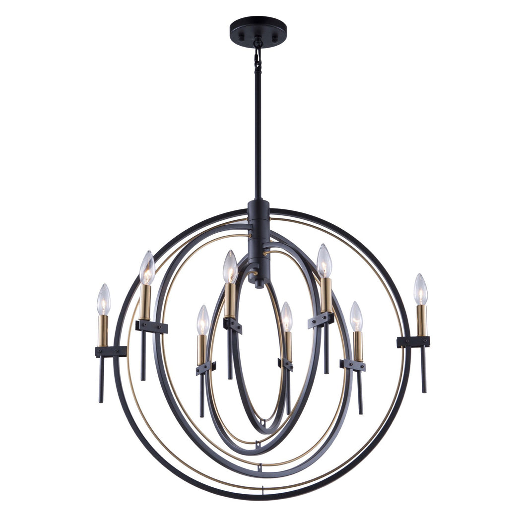 Anglesey 28 in. wide Black and Brass Chandelier