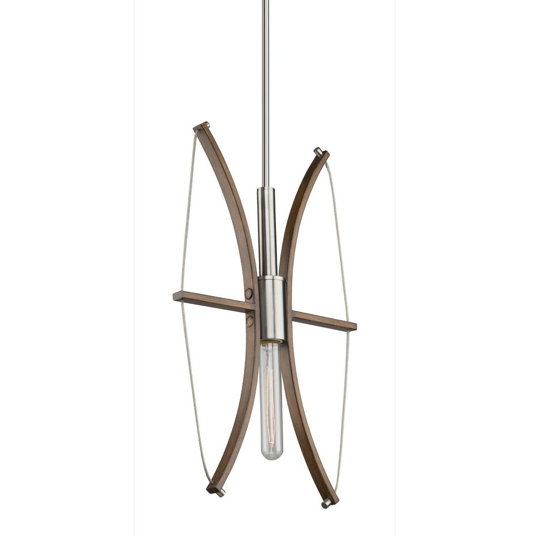 Arco 12 in. wide Wood and Brushed Nickel Pendant